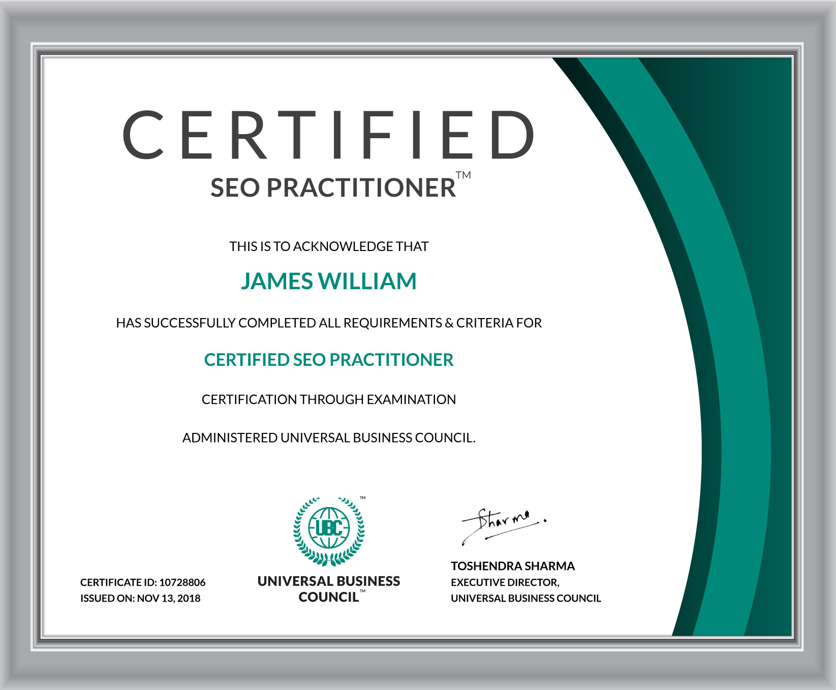 Certified Seo Practitioner Universal Business Council